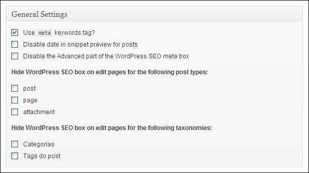 configurações gerais plugin wordpress SEO yoast