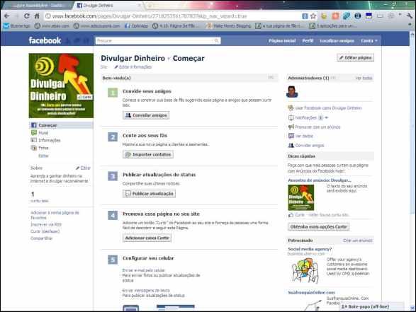página fan page facebook fãs