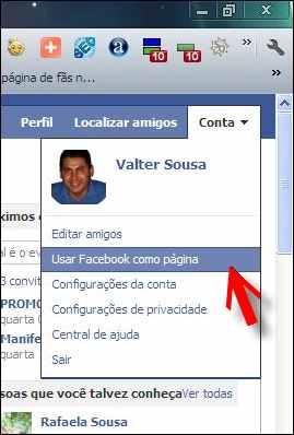 fan page fas pagina fa facebook menu conta