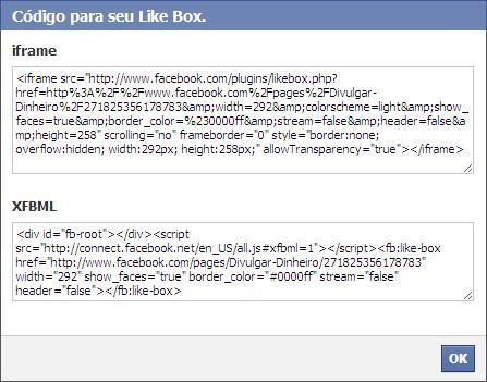 fan page fas pagina fa facebook like box código iframe xfbml