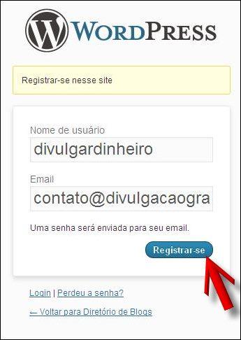 usuario email registar divulgar blogs