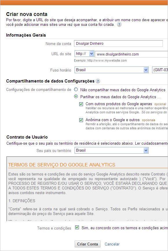 formulário contrato google anlytics