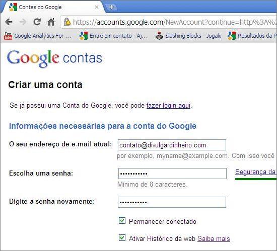 formulário criar nova conta google