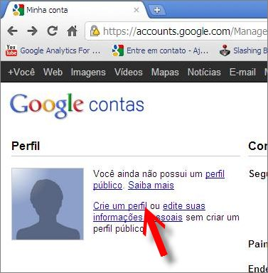 link criar perfil publico google contas