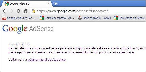 google adsense conta inativa