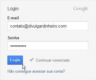 quadro login google analytics