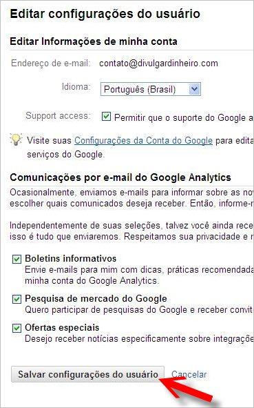 mudar idioma google analytics