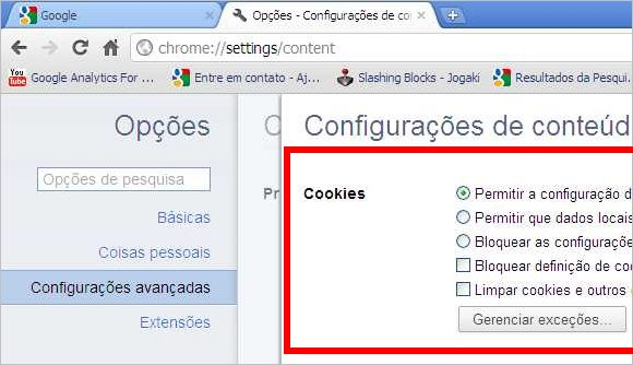gerenciar cookies google chrome