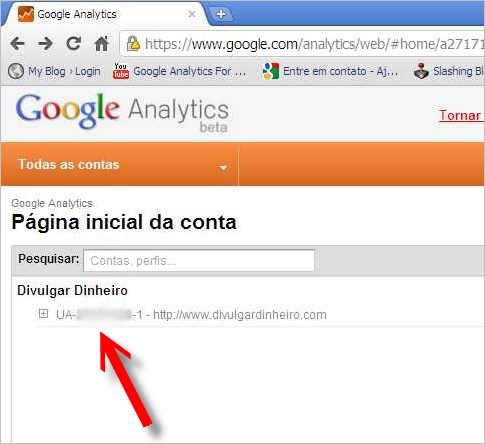 página inicial homepage google analytics