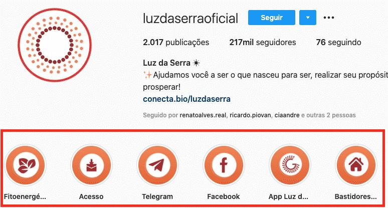 Exemplo de destaques no Instagram de saber como ganhar dinheiro no Instagram e Whatsapp e como ganhar seguidores no Instagram