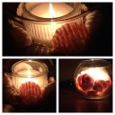 Candle- $1, Shells - $1, Candle Holder - $1 . CHEAP THRILLS! My dollar store project.