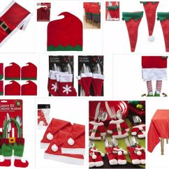 Christmas Elf Chair Covers Huge Camping Table Cutlery Decorations Santa Naughty