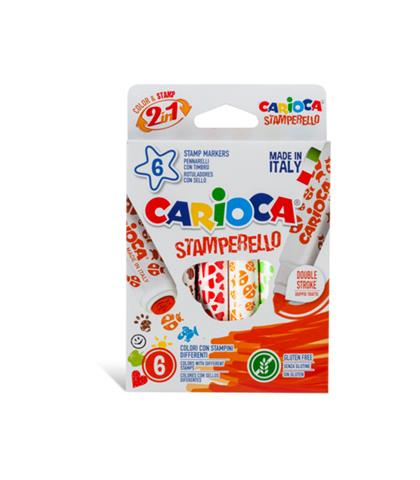 Carioca 6 Feltip Stamperello Colors With A Double End Conical And Stamp, Super Washable Non-Toxic Ink (42279)