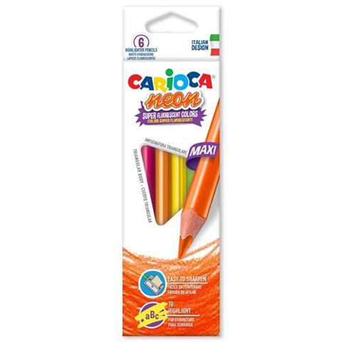 Carioca 6 Jumbo Neon Coloring Pencils 42809