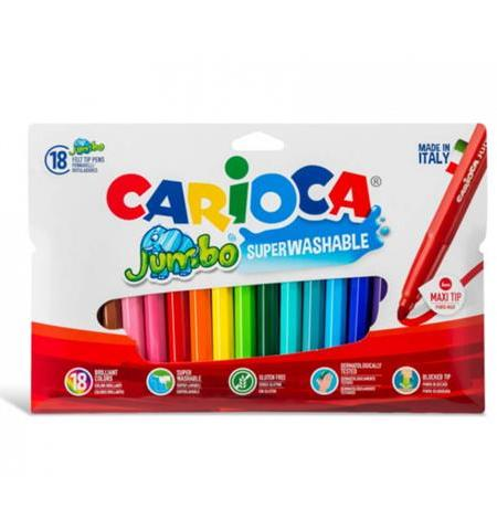 Carioca 18 Maxi Felt Tip Jumbo Colors Super Washable Non-Toxic Ink (40566)