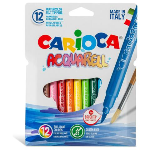 Carioca 12 Brush Tip Acquarell Colors Super Washable Non-Toxic Ink (42747)