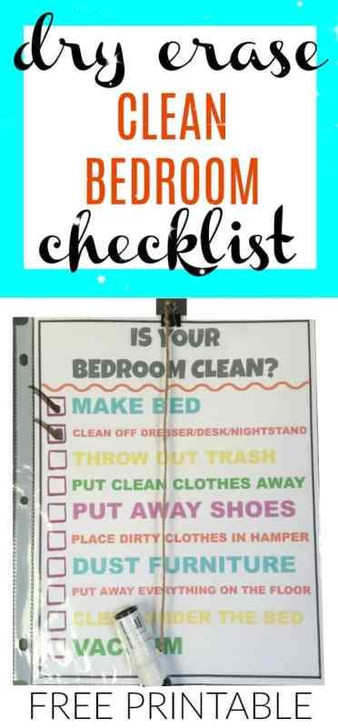 Printable Is your Bedroom Clean checklist
