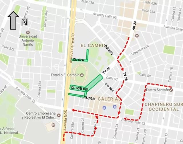 Mapa 2: desvíos autorizados / Secretaría Distrital de Movilidad / Concierto Justin Bieber en Bogotá
