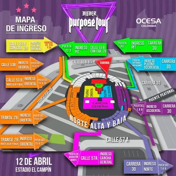 Mapa concierto Justin Bieber en Bogotá