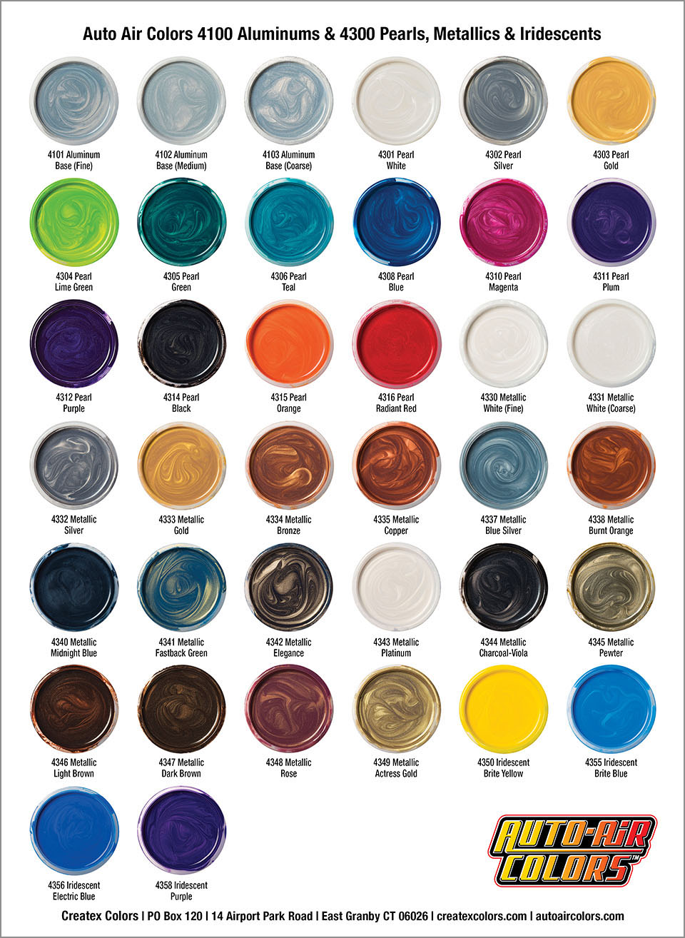 Automotive Paint Charts : automotive, paint, charts, Series, Pearlized, Colors,, Metallic, Colors, Iridescent