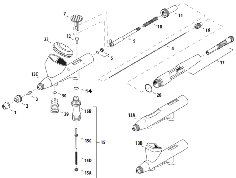 Iwata High Performance Hi-Line Airbrush Parts