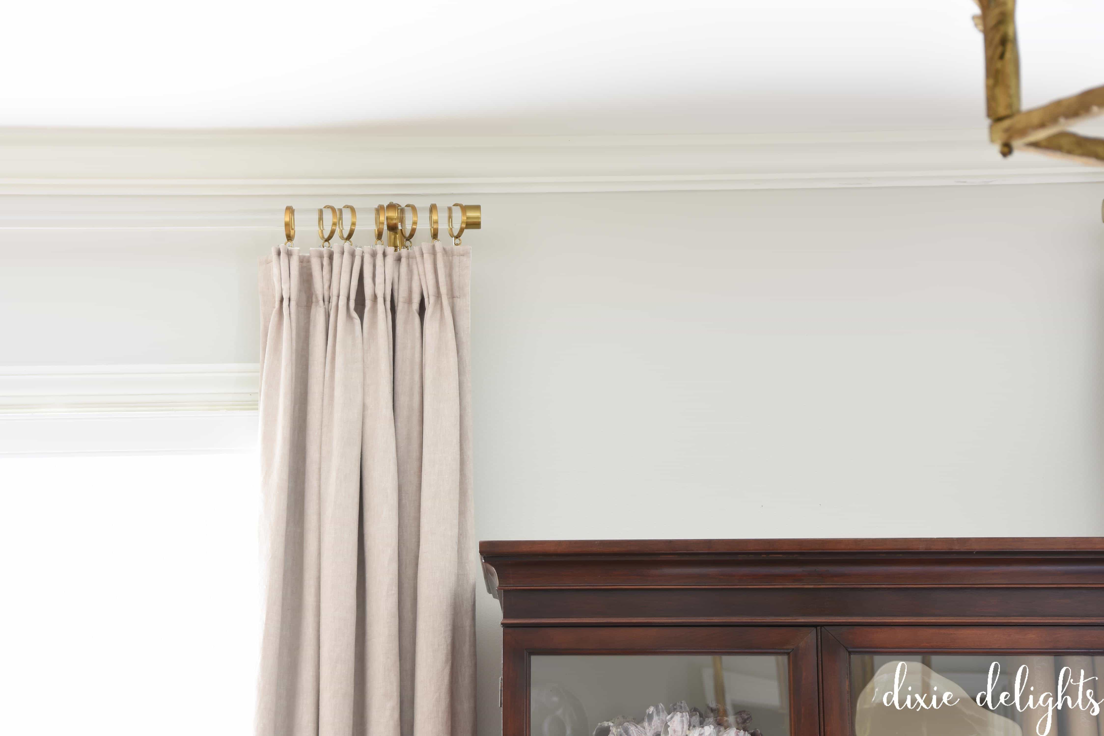 Acrylic curtain rod - When Honey Installed The New Rods He Moved Them Up Just Under The Crown Molding Between That And The Clear Rod It Really Improved The Look Of The Ceiling