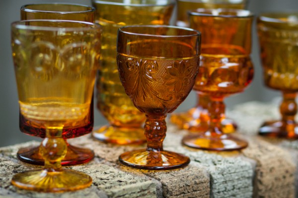 Assorted Vintage Amber Colored Glass Goblets 210