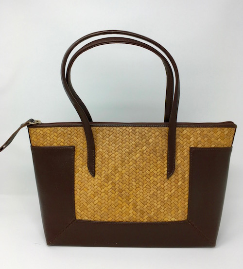 26cf3a313 Woven Bulrush and Leather Handbag by SongO - DRC DIXIE ...