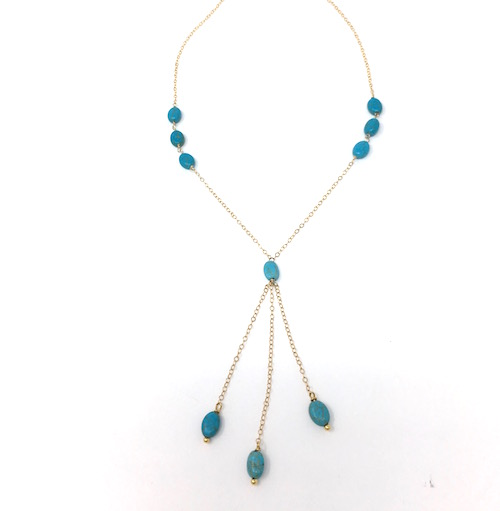 17dbeb54a Delicate Turquoise and Gold Y Chain Necklace - DRC DIXIE ...
