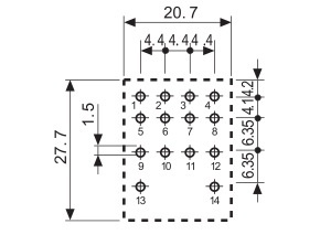 Relais Embrochable 4RT 7A 230Vac 250Vac BP test