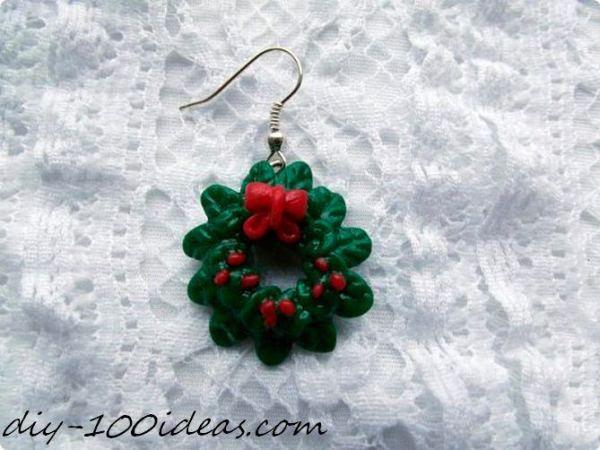 Polymer clay Christmas wreath earrings (2)