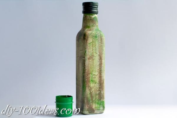 Decoupage Olive oil bottle  (5)