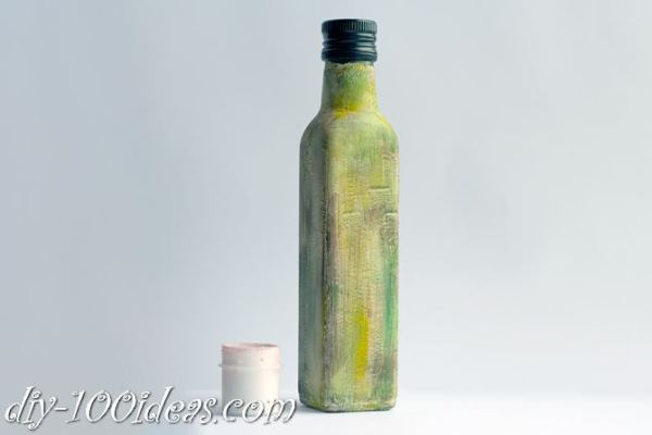 Decoupage Olive oil bottle  (7)