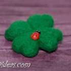 Needle felted four leaf clover brooch