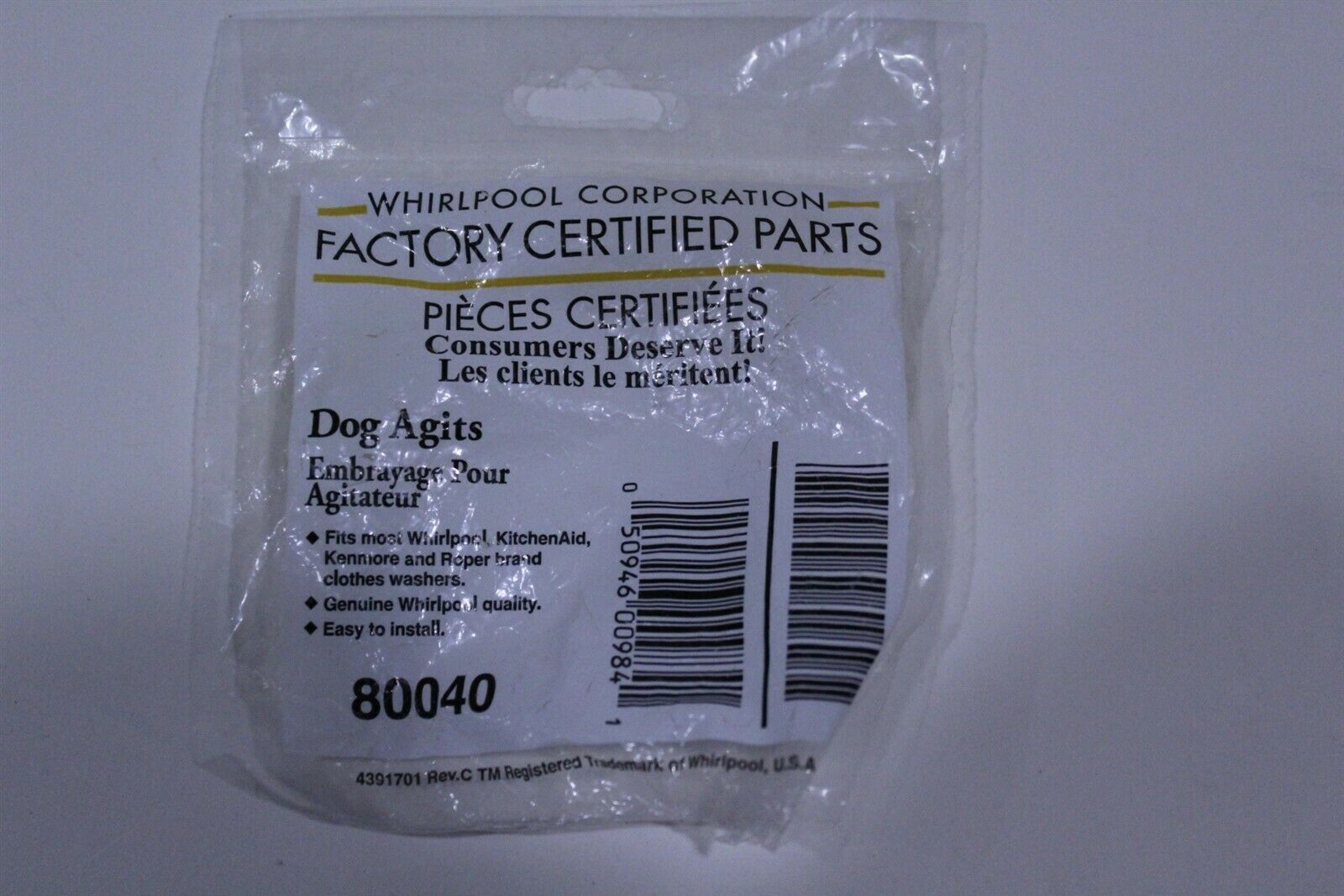 Washer Agitator Dogs Certified Whirlpool Parts 80040 4 pack