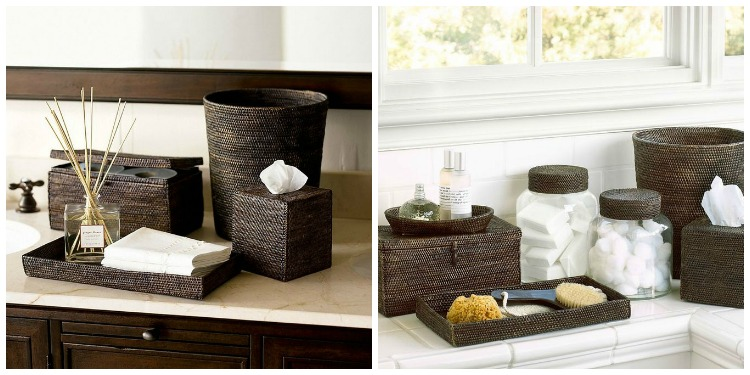 Rattan bathroom accessories