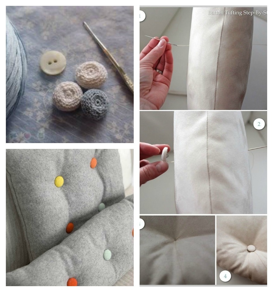 decorate a cushion with buttons