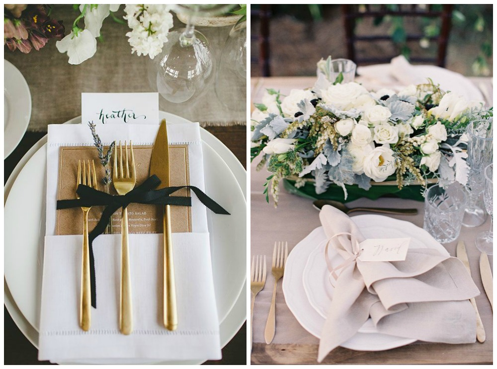 gold place settings
