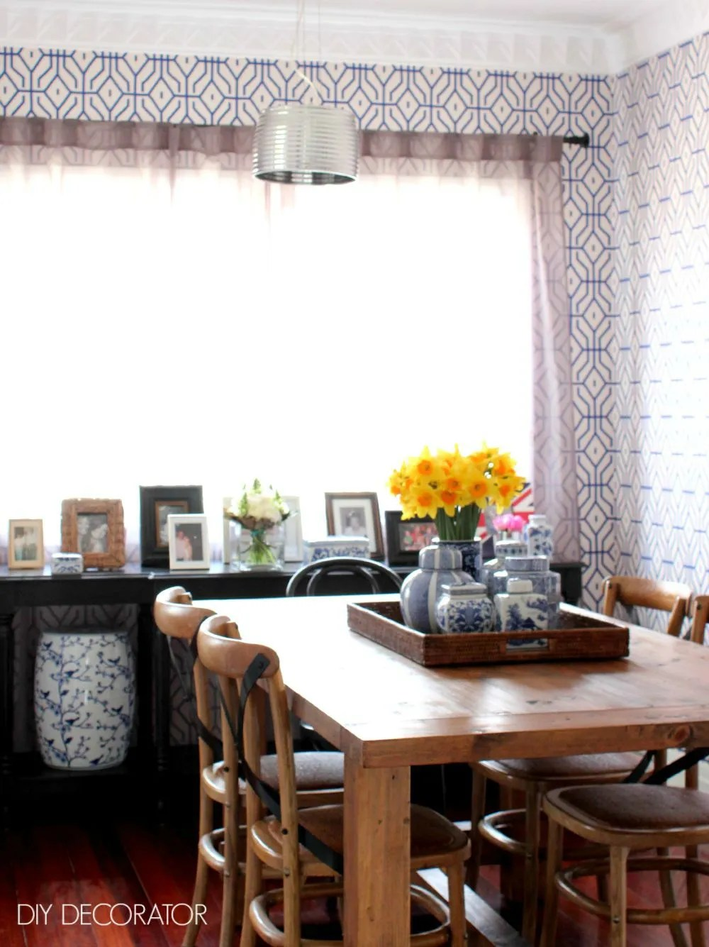 blue white dining room overview W
