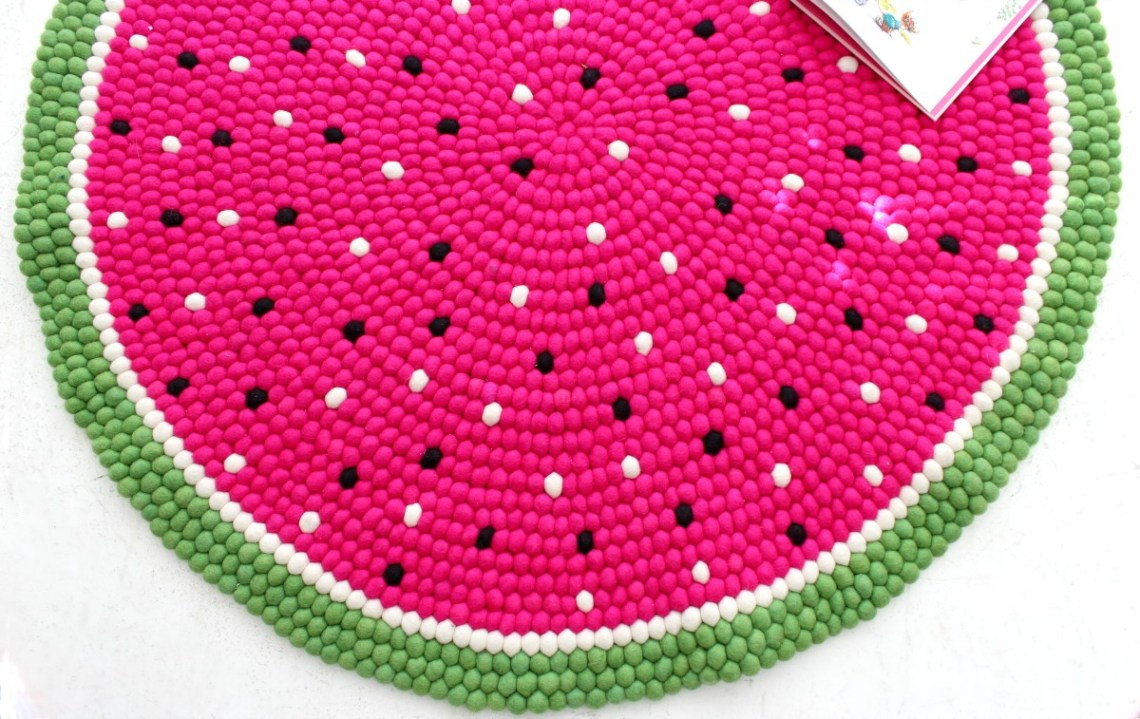 felt ball rug watermelon close up