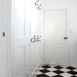 Mudroom wall with coat hooks DIY