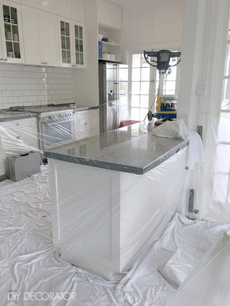 Marble bench tops polished