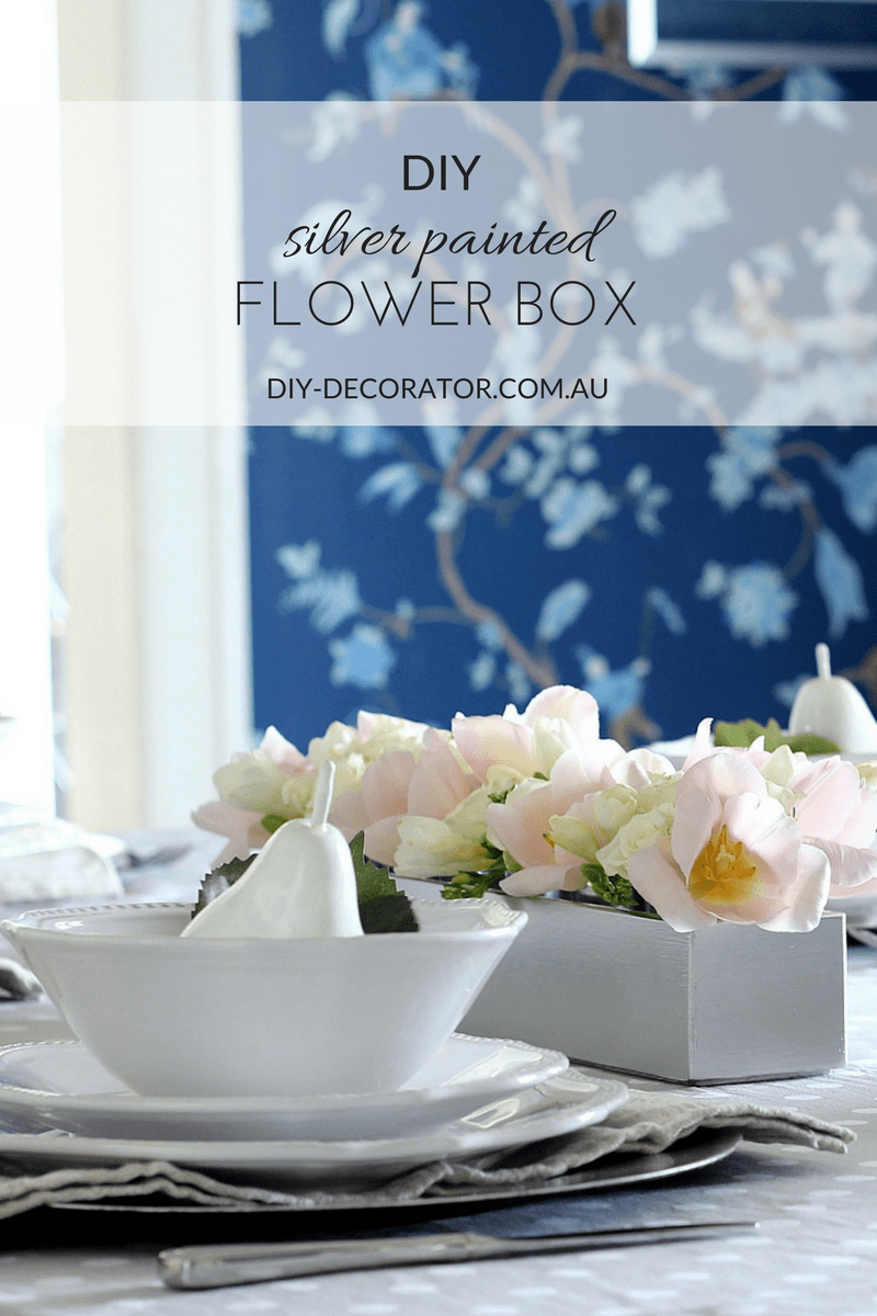 DIY Silver painted flower box table centrepiece