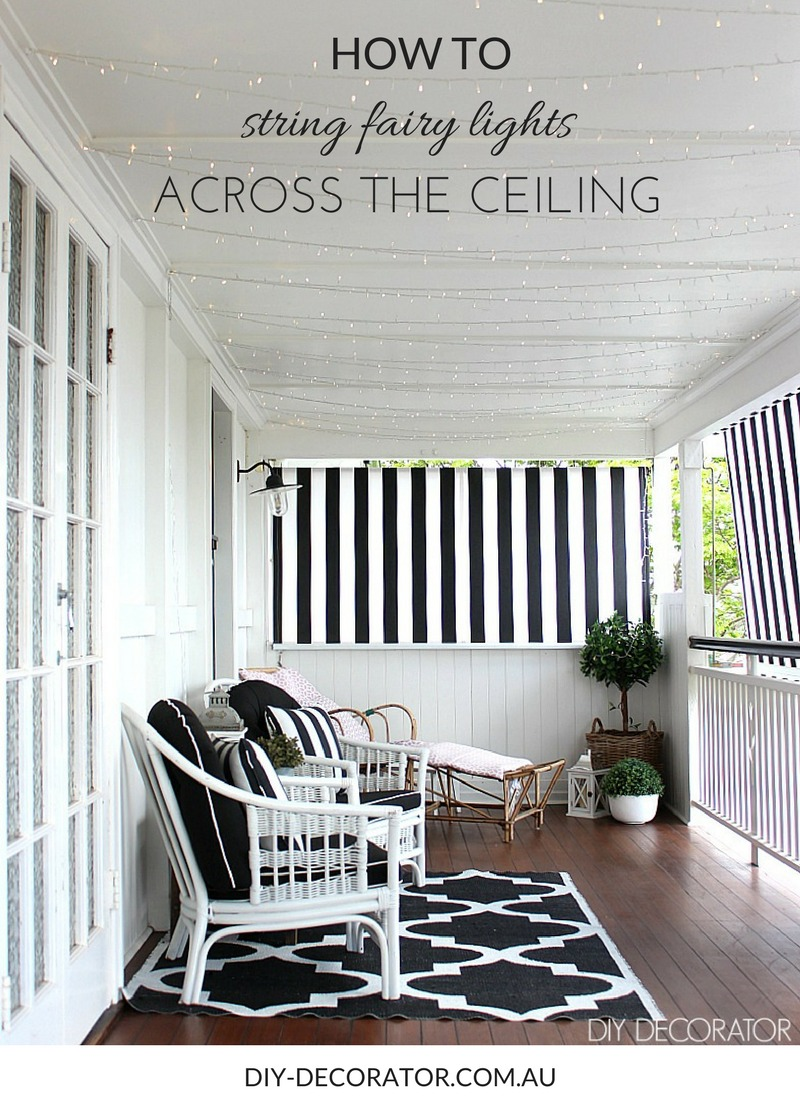 How to string fairy lights across the ceiling diy decorator - How to hang up string lights ...