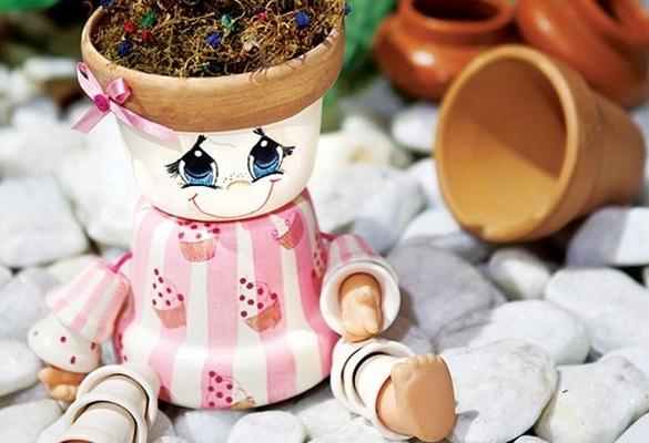 DIY Garden Decoration Ideas Dolls Made Of Clay Flower Pots