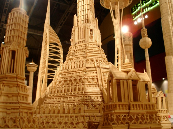 Contemporary art masterpieces of toothpicks by Stan Munro