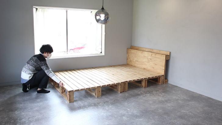 丸1日乾かしパレットベッドをセッティング