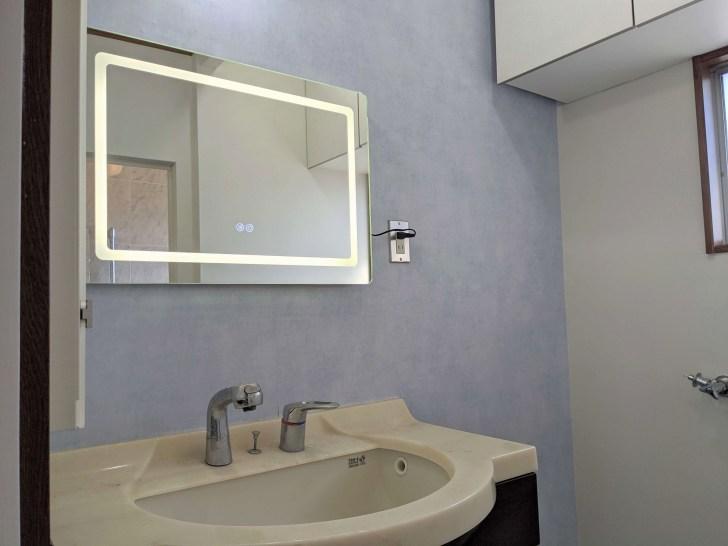 LEDミラーと海外壁紙を使ってDIYした洗面所