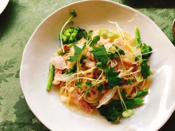 梅蓮のランチのツナと季節野菜のスパゲッティー(ゆずこしょう入り)
