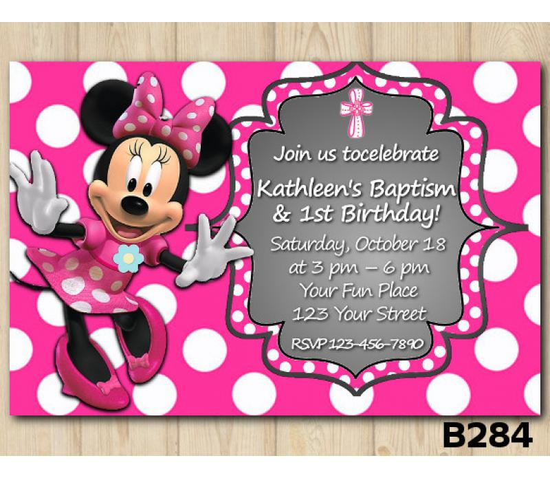 baptism minnie mouse invitation personalized digital card